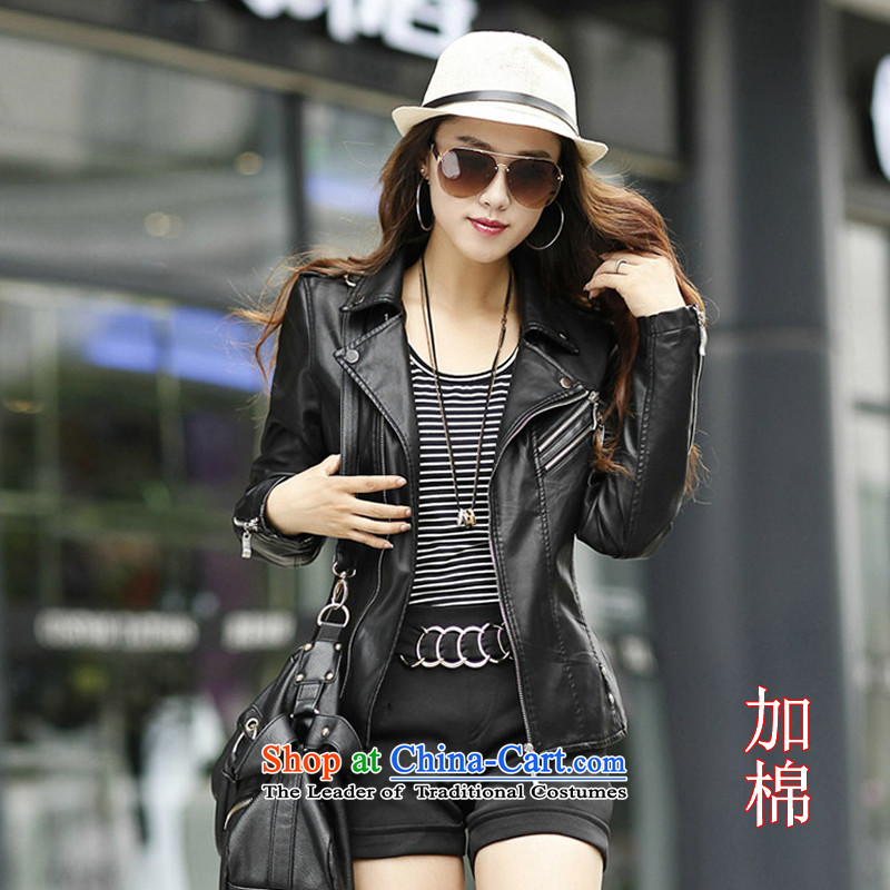 The autumn and winter, XL female thick mm Sleek and Sexy PU Yi long-sleeved western leather jacket short of Sau San plus cotton燲XXXL small Jacket