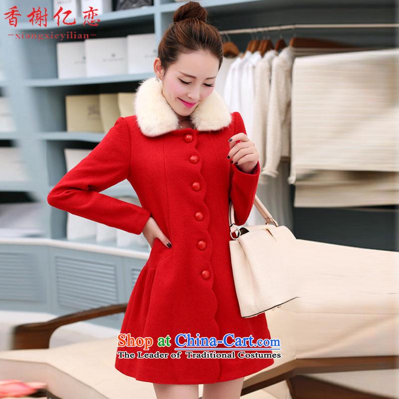 Champs billion Land 2015 autumn and winter new women windbreaker Korean jacket in gross? Long cashmere cloak? female Sau San Mao GN822 RED燲XL