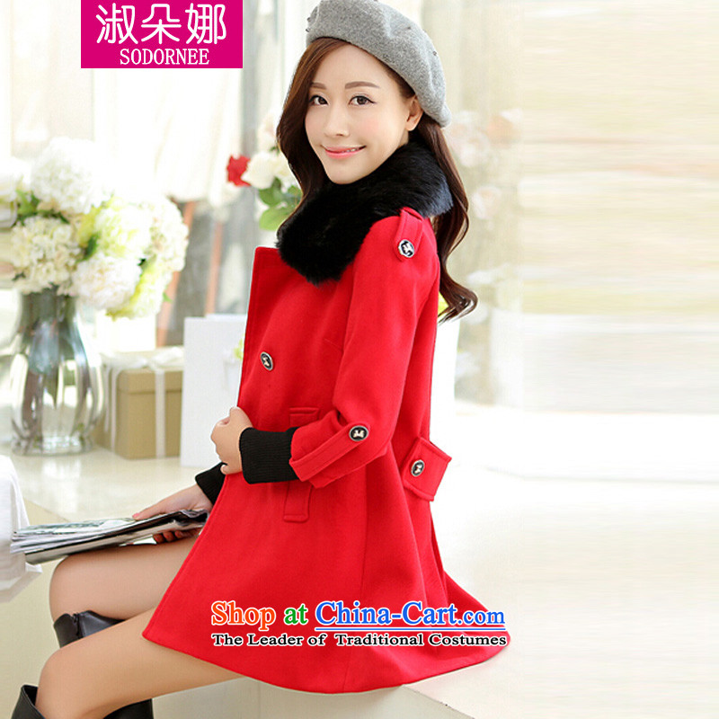 Mrs flower of 2014 winter clothing new women's gross for a wool coat in the long hair? JACKET _86.7 Venice red燣