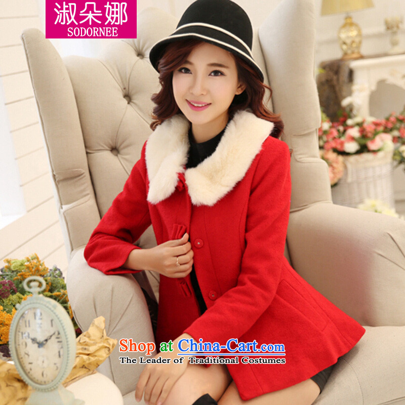 Mrs flower of 2014 winter clothing new Korean short of the amount for a wool coat video thin thick hair beauty? jacket female red 5069燬