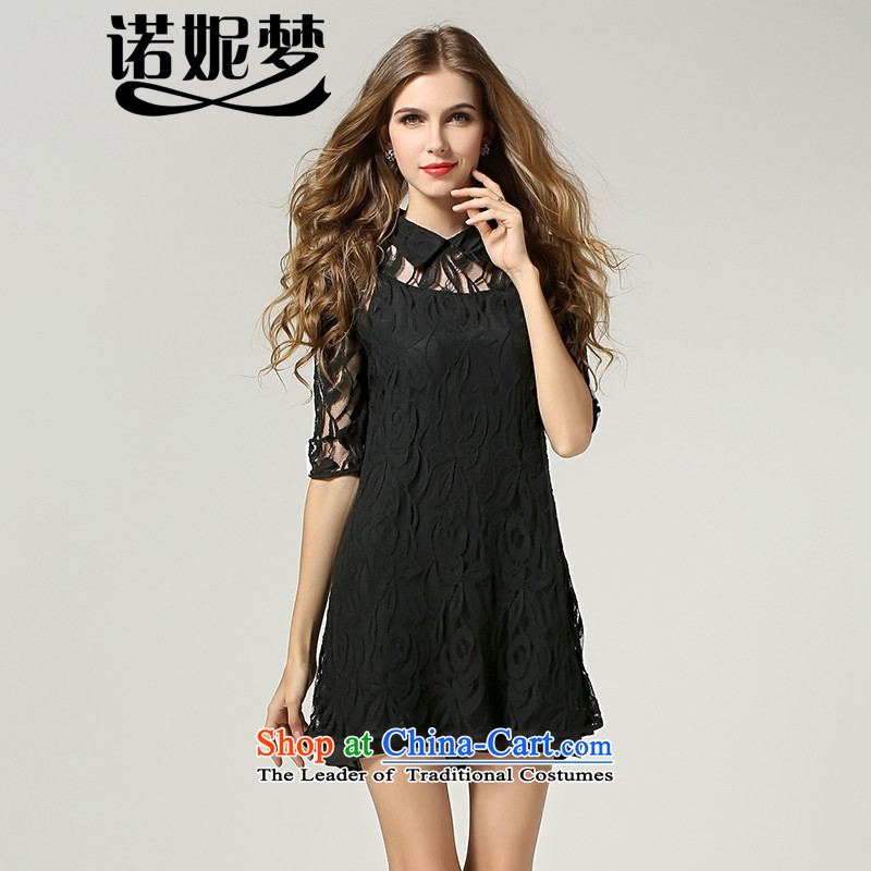 The Ni dream new_ Autumn 2015 Europe to increase women's code thick mm temperament engraving Foutune of two kits lace dresses s1115XXXL black