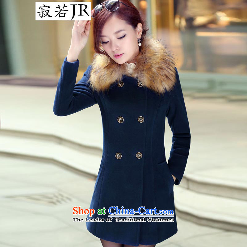 Lonely if new products won the 2014 winter edition in Sau San double-long hair for gross? jacket navy XXXL WOMEN 1031