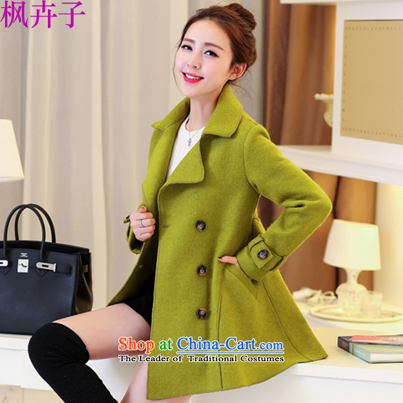 Maple Hui Sub 2015 autumn and winter new Korean version in the double-long lapel coats F8197 gross? green� S