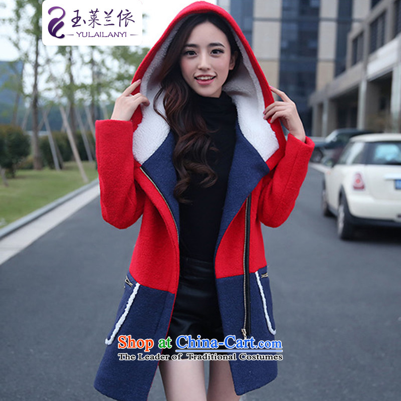 In accordance with the 2014-yuk leyland winter new plus cotton wool coat Korean version of this long female jackets female red plus cotton waffle燤