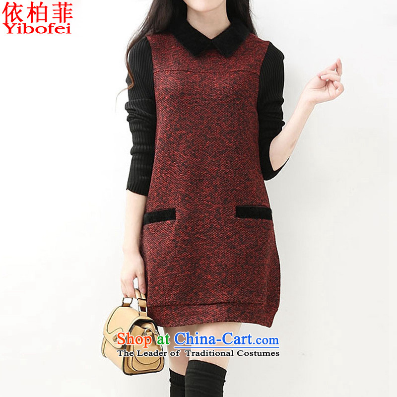 In accordance with the perfect2015 autumn and winter new Korean fashion lapel loose larger Drop-Needle LS Thick coated dresses Y339 female wine redM