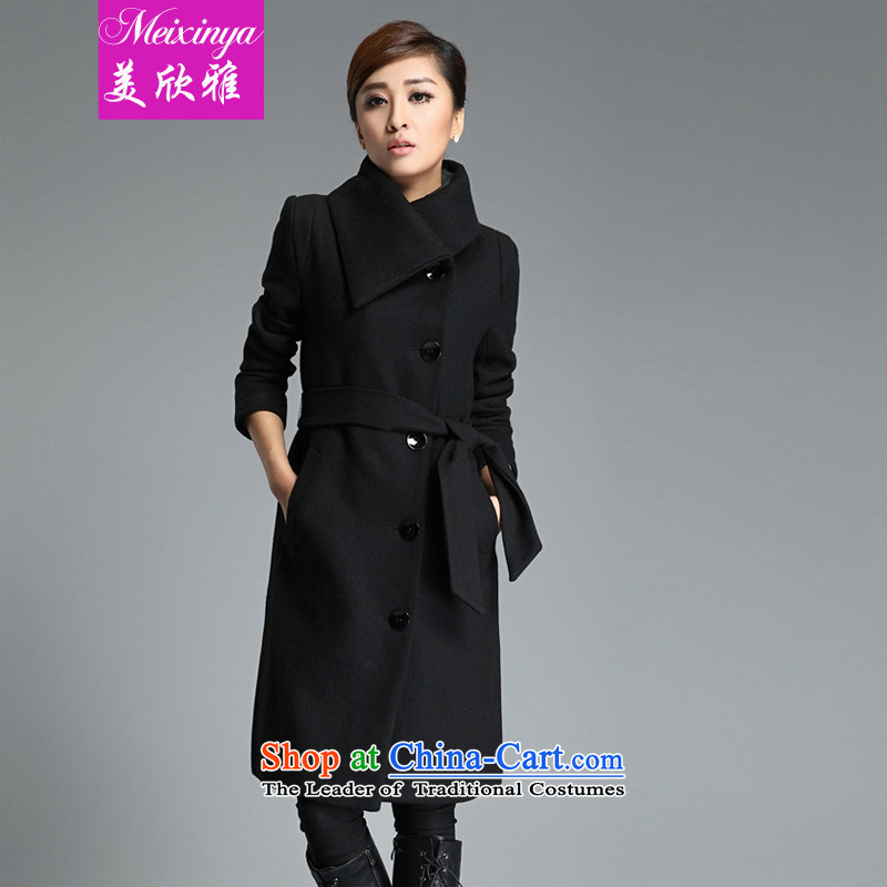 The United States welcomes the ya? 2015 ?winter coats female Korean gross? version? In gross coats cashmere overcoat long hair? jacket female black jacket?XL