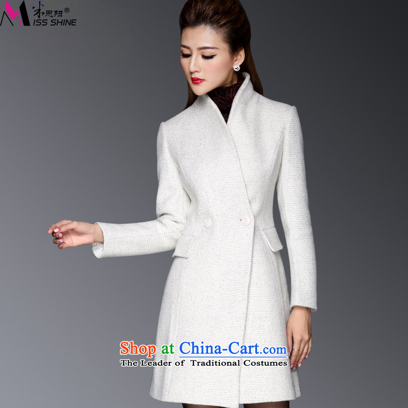 Meath Yang Valley snow fall and winter 2015 new gross? woolen coat V-neck in long pocket wind jacket m White S