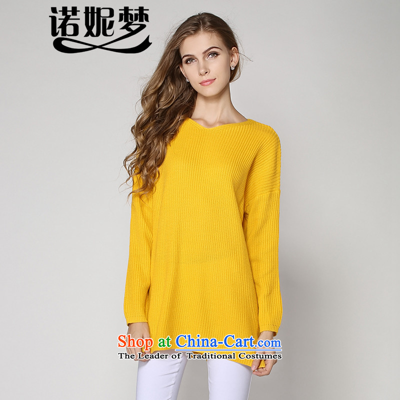 The Dream of the 2014 autumn and winter Connie new to increase women's code 200 catties western minimalist V-Neck long-sleeved sweater pure color graphics thin Knitted Shirt relaxd 2006 Yellow?XXXL