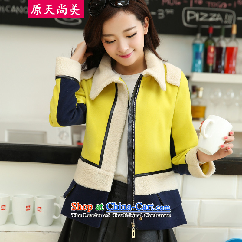 The original days Sang-mi聽2014 winter stylish Sau San Korean Short Commuting gross? lapel overcoat聽CC260109聽Qiu Xiang green聽S