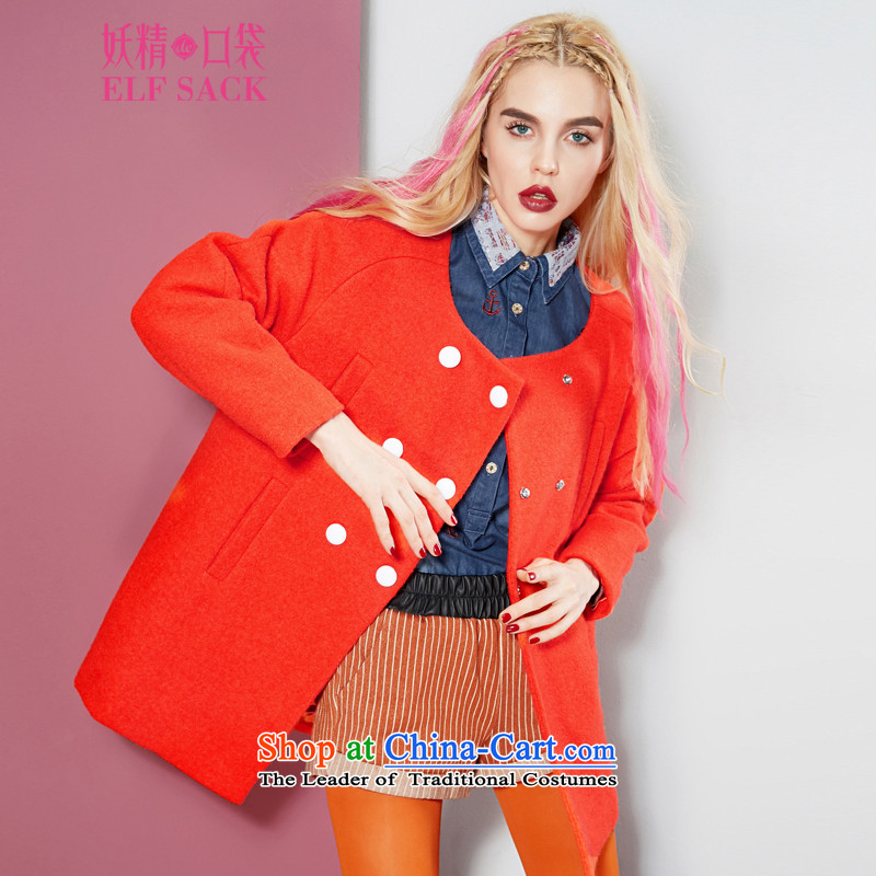 The pockets of witch pretending in Finland 2015 spring outfits, double-round-neck collar coats 1432116? gross Western Red L