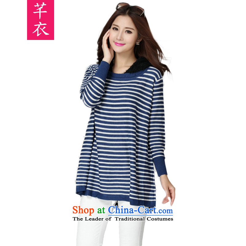 The new 2015 Korean women to xl leisure lady shirt thick sister sweet temperament streaks long-sleeved cap video thin blue T-shirt with round collar are approximately 130-180 code catty