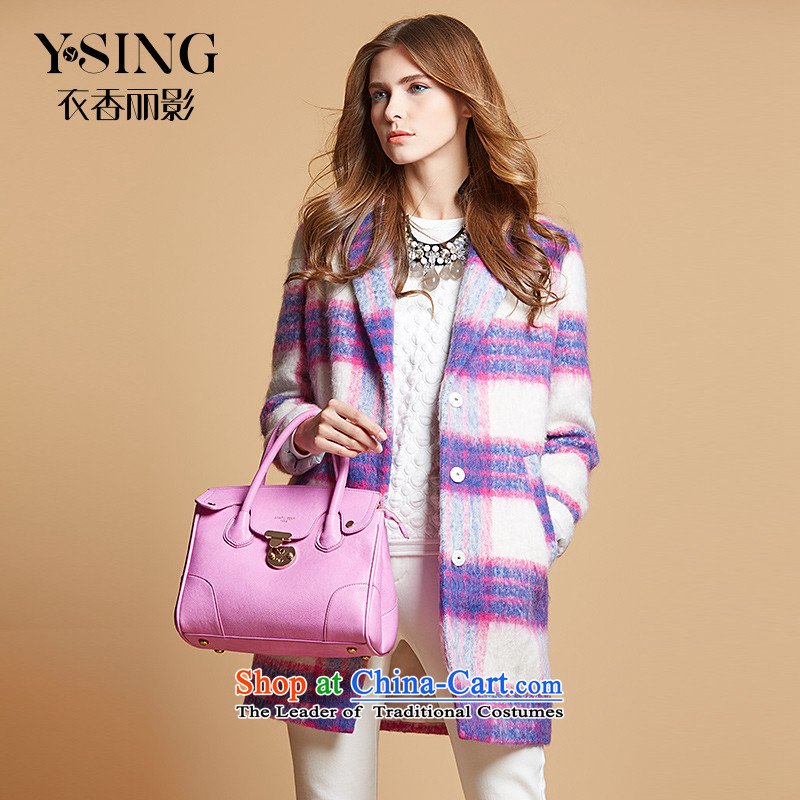 Hong Lai Ying 2015 winter clothing new streaks in the stitching Sau San long coats jacket 9488267 gross? purple _71_ L