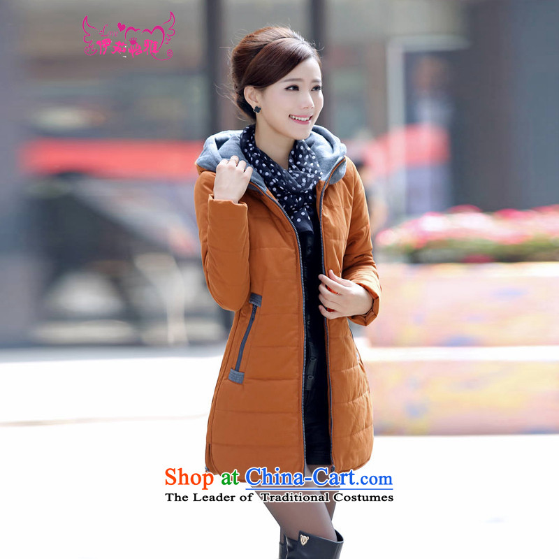 El-ju Yee Nga�15 autumn and winter new larger female 4XL Short thick cotton, Sau San Fat MM cotton coat jacket RY2160 orange in long燲XL