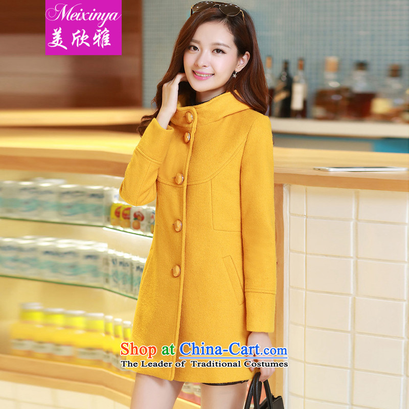 The United States welcomes the 2015 New Korea Nga version stylish leave cap single row detained Sau San Mao coats LT07? Yellow M