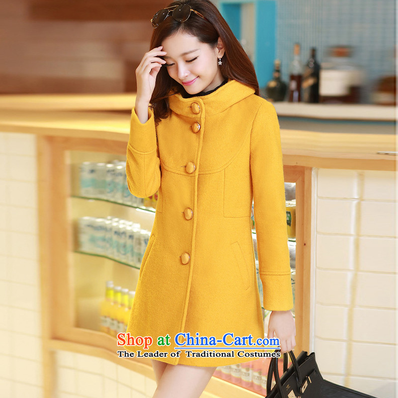 The United States welcomes the聽2015 New Korea Nga version stylish leave cap single row detained Sau San Mao LT07 coats Yellow聽M, then the United States welcomes a (meixinya) , , , shopping on the Internet