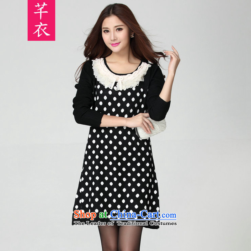 The new 2015 Autumn and Winter Female xl Korean lace for long-sleeved short skirts thick mm lovely foutune temperament wave point dresses large white dot 125-170 catty
