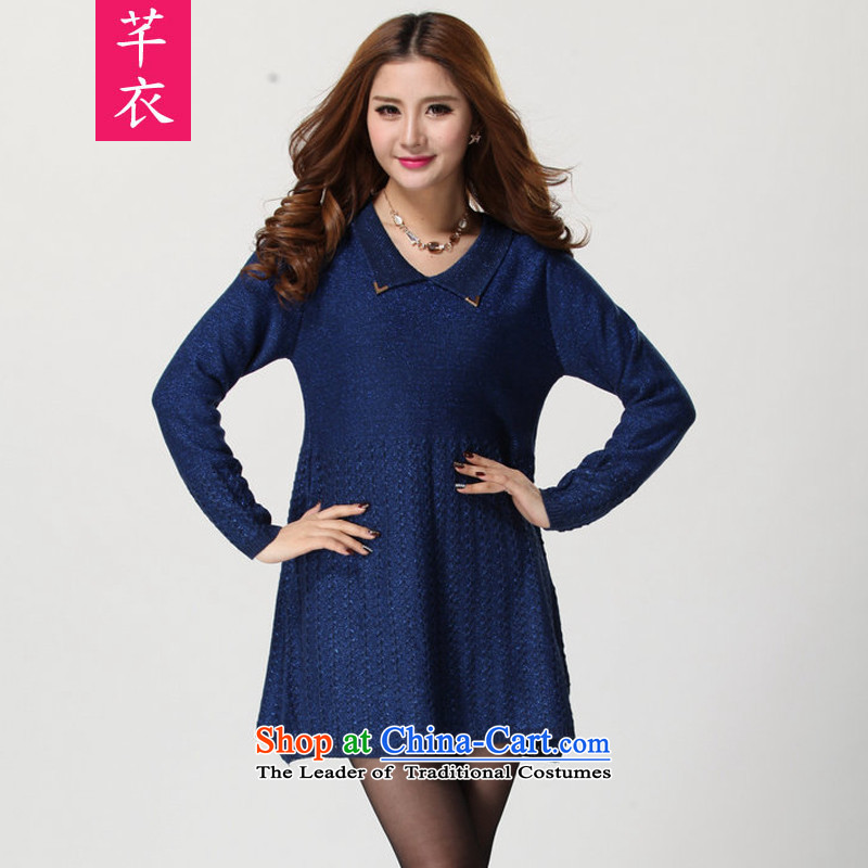 Increase the number of autumn and winter female new 2015 Korean long-sleeved Knitted Shirt expertise relaxd mm gentlewoman temperament leisure flip collar dress code for both large blue