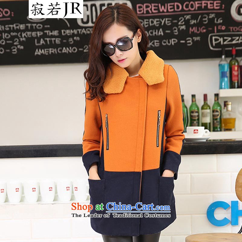Lonely if new products won the 2014 Winter version in the stitching stylish Sau San long coats jacket gross? female�8爕ellow orange燲L