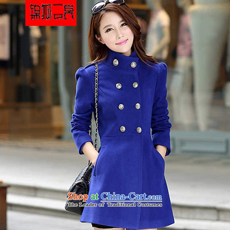 Kam Fox Ella fall inside the new 2014 female coats female Korean long thin video   Gross Jacket coat? women NZ8 BLUE L