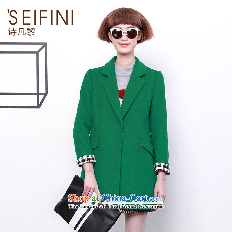 ? Close ? poem where Lai autumn and winter load new roll collar in Sau San gross long overcoat female 6491147774? green燣