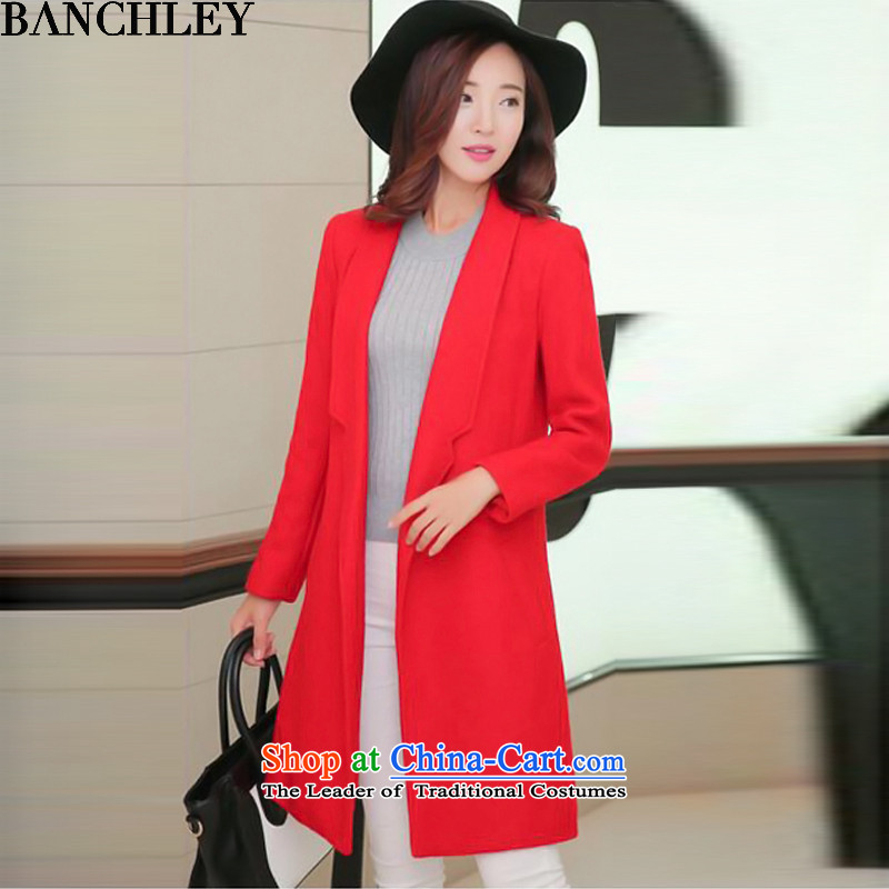 The 2015 autumn and winter, also replace the new Korean female jacket? gross version of Sau San a wool coat 608 red聽L