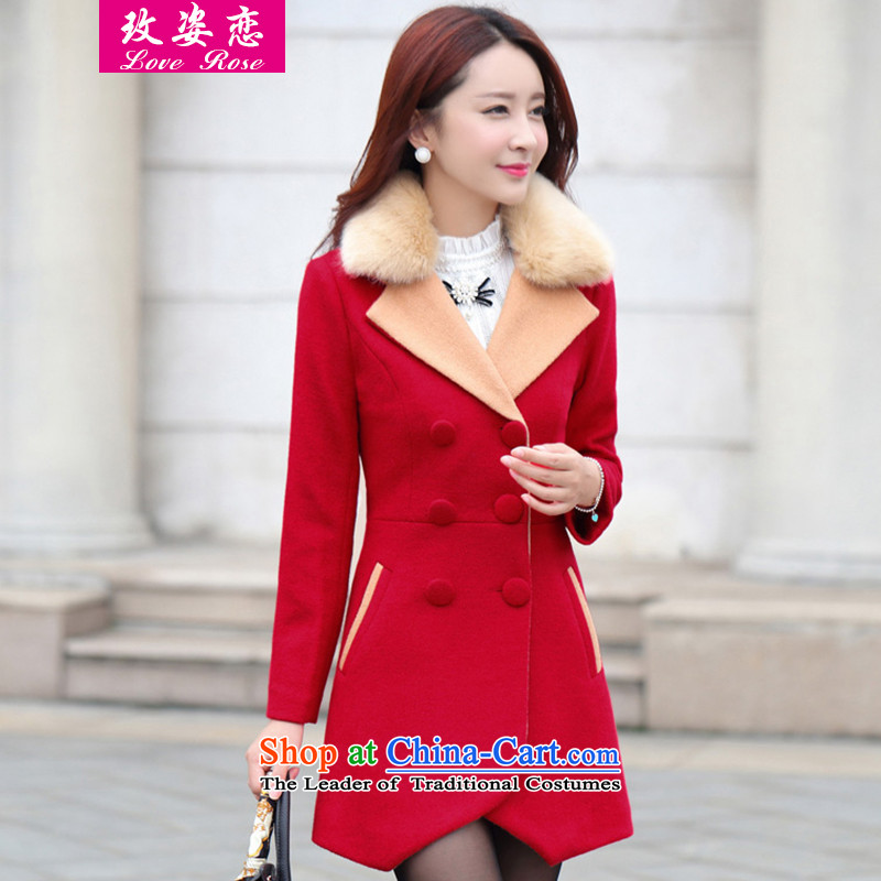 In 2015 Winter Land Amaral on new gross Korean female jacket will fall_winter collections in the gross? jacket long cap Wool Velvet Sau San coats gross? coats female爎ed 6756燣