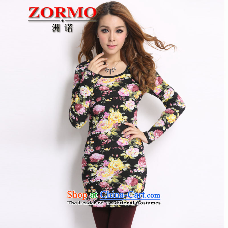 The Korean version of the female ZORMO autumn and winter stamp to XL, forming the basis of the Netherlands king plus velvet thick mm thick thermal underwear peony flowers XXL