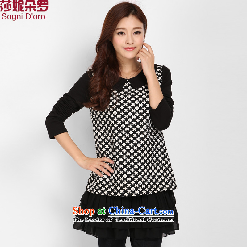 Shani flower, thick sister autumn T-shirts for larger female Korean version to the thin xl shirt long-sleeved top female 3002 Black�L-2015 Spring New