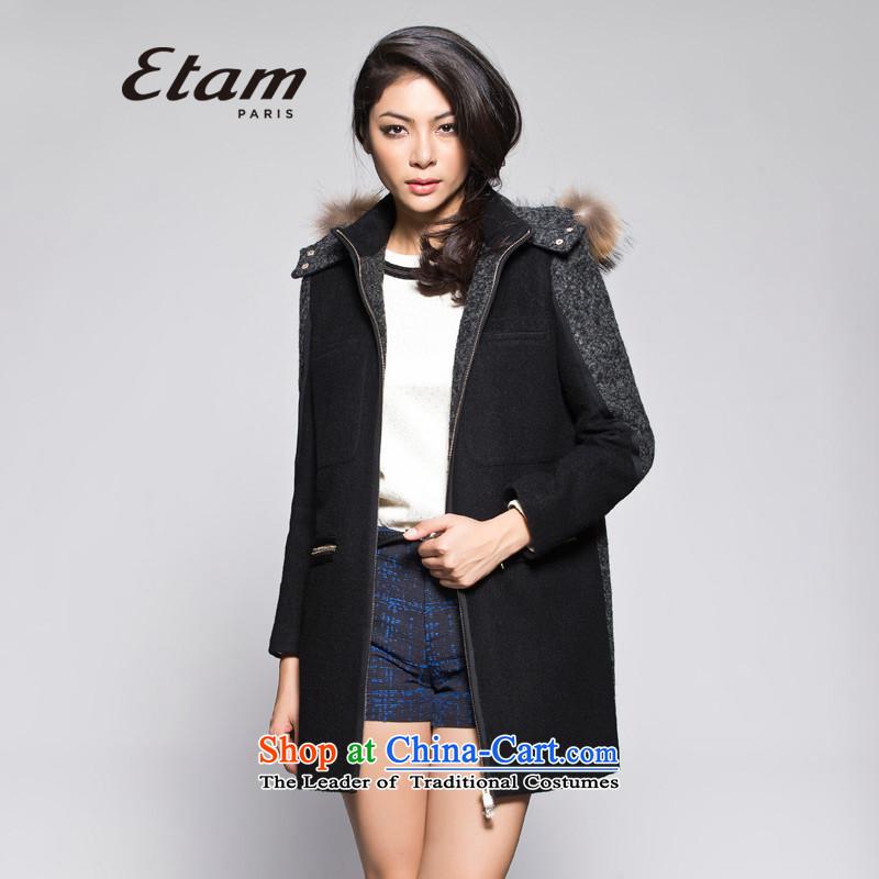 Etametamwinter circle in the stitching? fluff long coat black165_38_M 14013407995