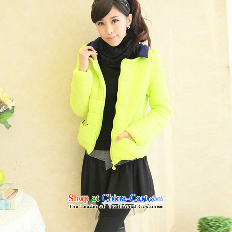 The new 2015 to increase the burden of winter clothing 200 cotton jacket thick Korean short of mm larger robe cotton coat female Fluorescent Yellow?2XL reference weight 130-155