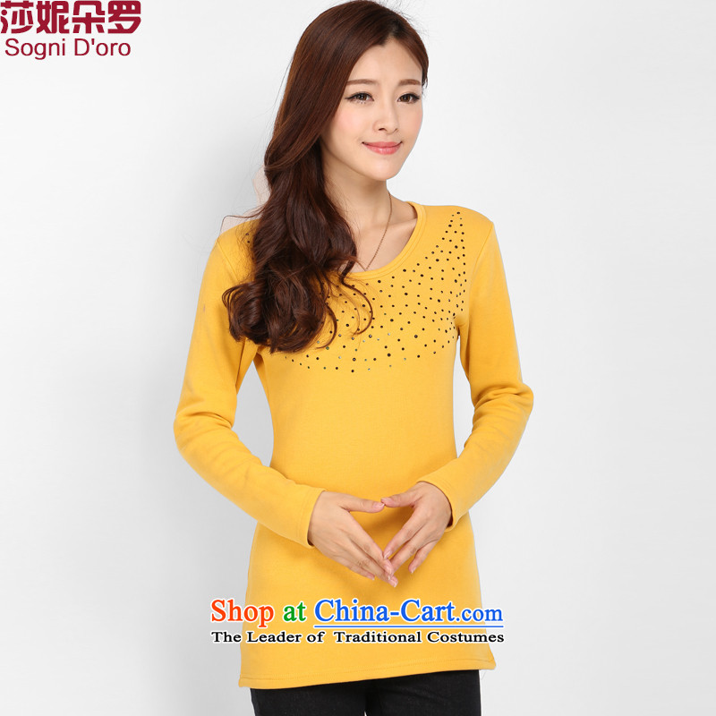 Shani flower, thick people to increase the number of the Netherlands battalion, forming the lint-free thick thick winter clothing Korean sister warm video thin T-shirt female 3104 Yellow4XL