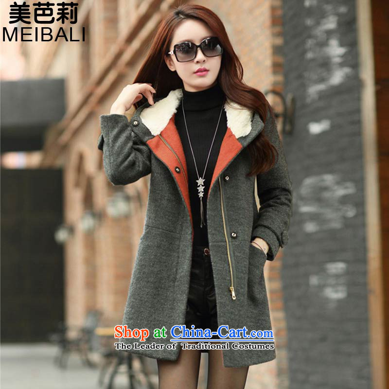 The United States and Li 2015 Spring New Korean Female Cap plush Sau San Mao jacket wool velvet cloak? 6211 Gray燣