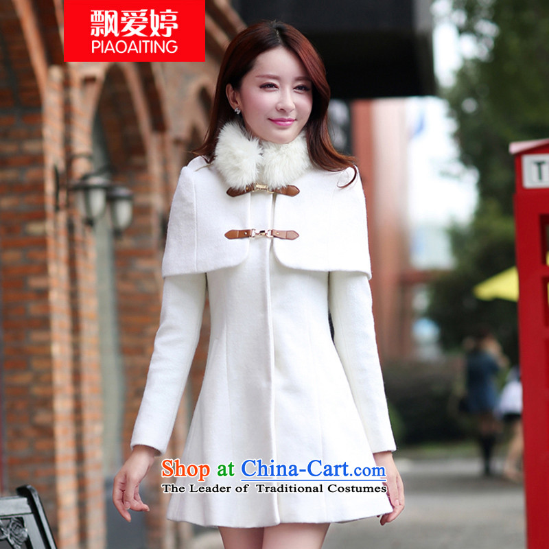 Piao Love Ting?2015 Autumn replacing new European and American version of Sau San single row is long cloak a jacket female thick wool a wool coat windbreaker female m White?XL