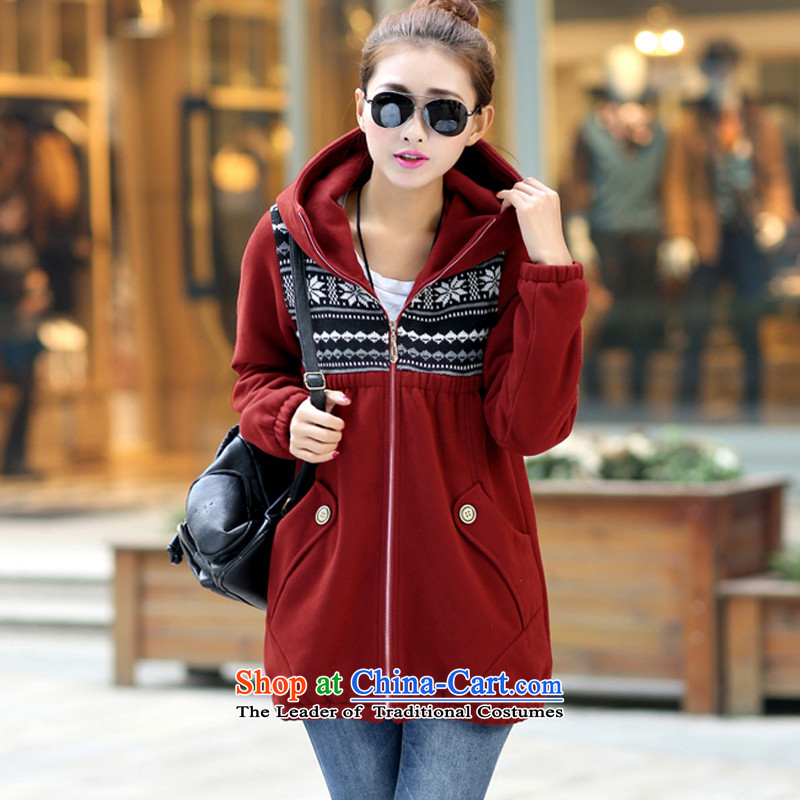 Maximum number of ladies of the 2014 Autumn and Winter Sweater new expertise in mm long with Cap 200 Jin Wei jacket for larger female red 5XL