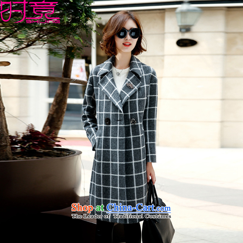 Even for?winter 2015 Korean small-style terminal in the long wool coat W8927 Sau San? gray cells?M