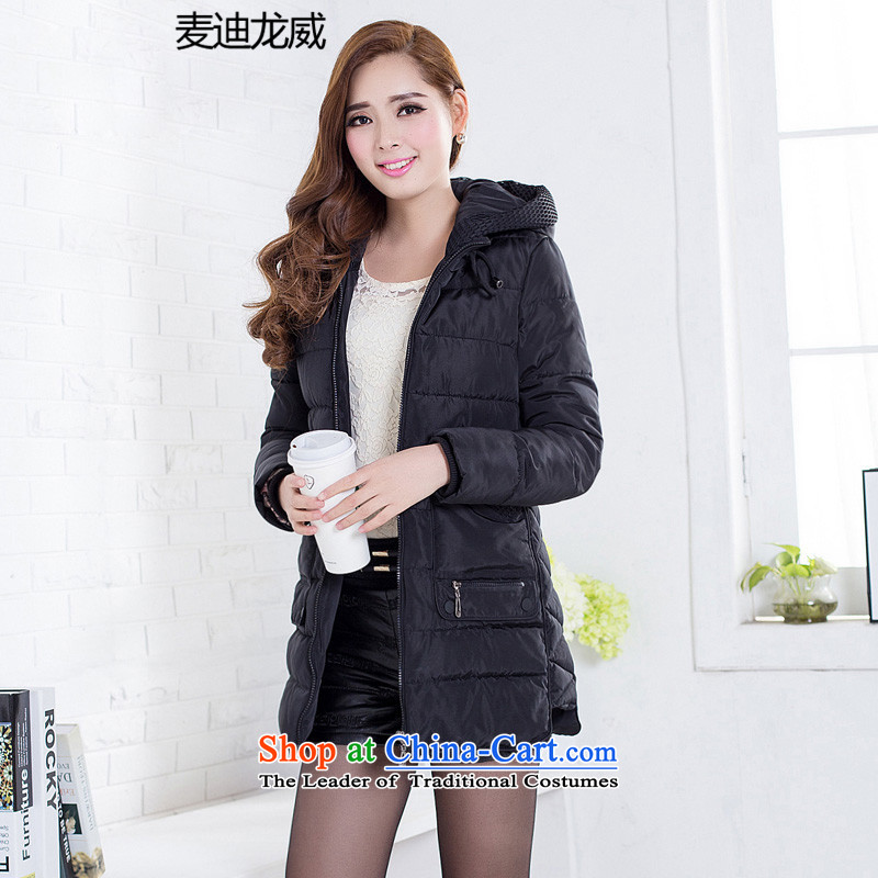 New Fall_Winter Collections for larger female Korean version of SISTER to increase expertise in the countrysides long jacket, black�L robe cotton coat