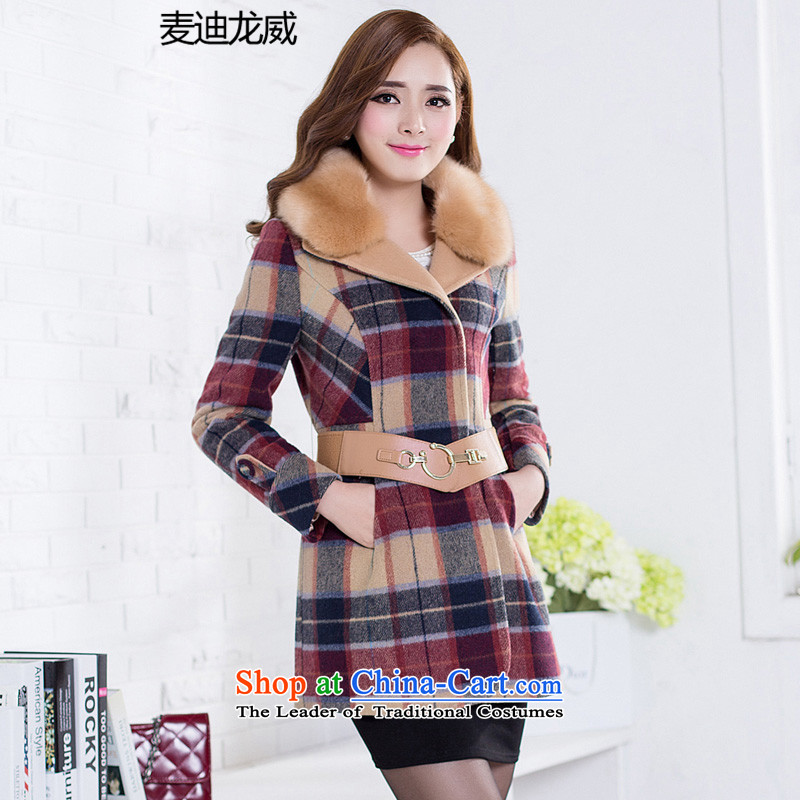 The autumn and winter load large Korean women's gross jacket thick mm thick?, Hin thin, sister to thick red聽3XL XL