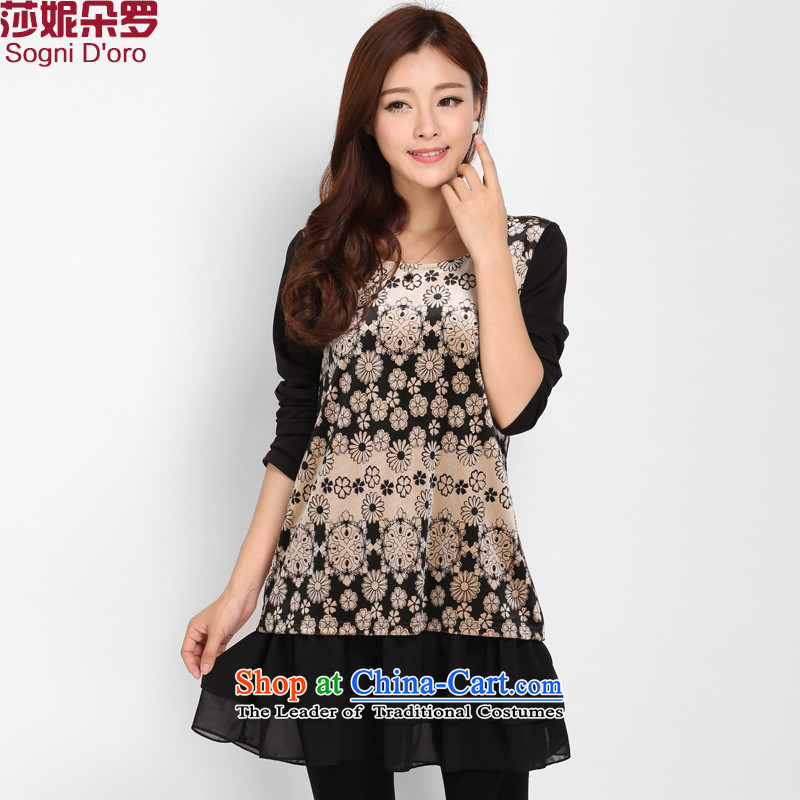 Shani Flower Lo 200 catties xl velvet new winter 2014 long-sleeved loose video thin forming the Sau San skirt Korean women 3108 Black聽4XL
