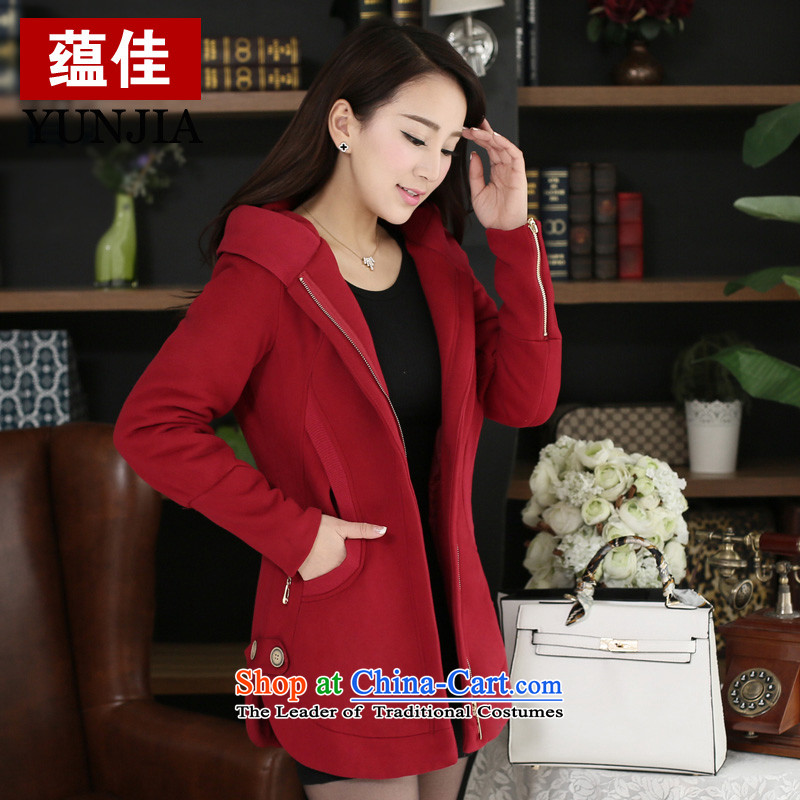 To better 2015 to increase the number of women with thick MM winter clothing new cotton jacket loose video thin thick sister 200 catties thickened the cotton sweater?5XL wine red