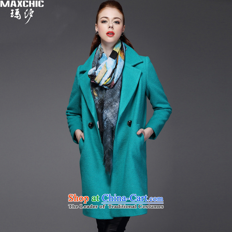 Marguerite Hsichih maxchic 2015 autumn and winter, simple and stylish suit for double row in single-long coats gross? female 4112 Green?S