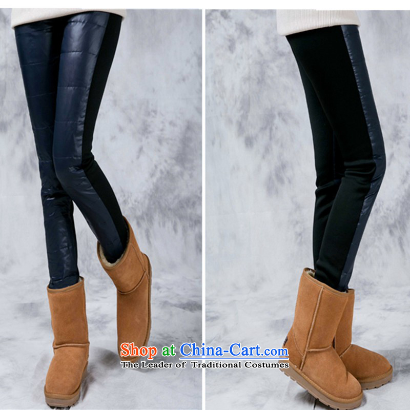 2015 king feather trousers female outside code through thick and thin-mm video thick winter to intensify forming the trousers thick mm Bonfrere looked as casual large Stretch video thin black ladies pantsXXL
