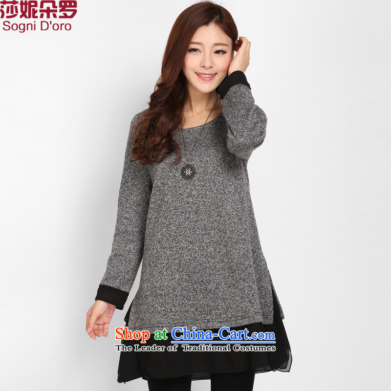 To increase the number of women with thick MM Winter 2015 new 200 catties thick Korean version of SISTER loose video thin dresses gray 5XL 3110
