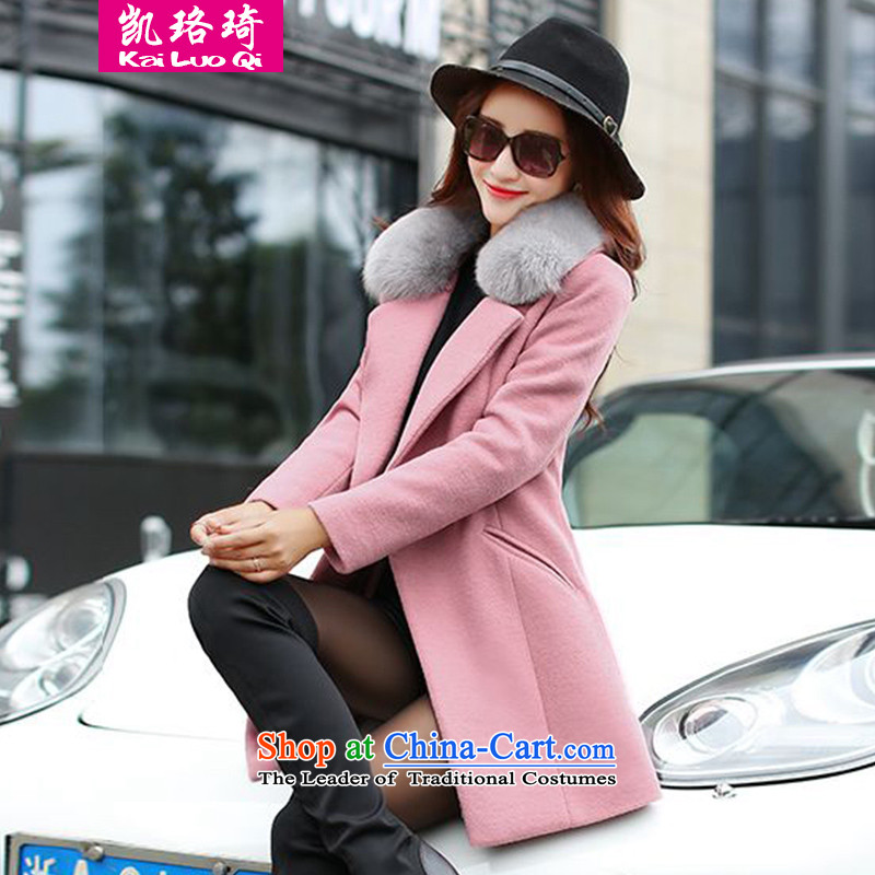 Kai Lok Qi 2015 autumn and winter new gross girls jacket? long winter clothing Korean women's large and stylish lounge gross washable wool a wool coat�16 pink燣