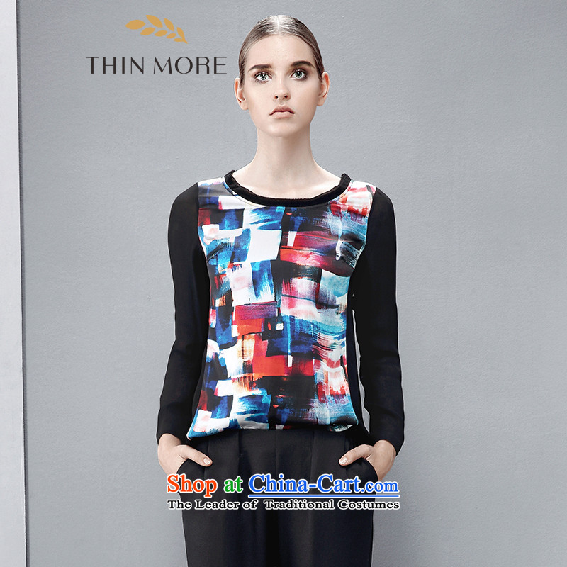 The former Yugoslavia Mak large high-end women 2015 autumn the new Europe and knocked color mm thick graffiti leisure shirt 8513651125XL black