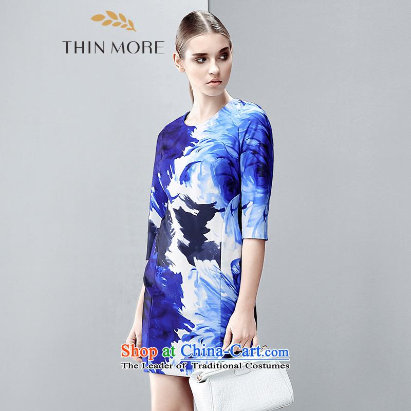 The former Yugoslavia Mak large high-end women 2015 autumn the new fat mm temperament Sau San dress blue�L 851101723