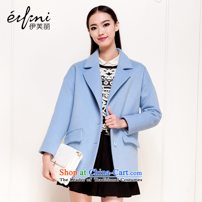 Of the 2015 autumn and winter, the new Korean thick wool coat hair loose?? jacket female 6481017205 light blue?M