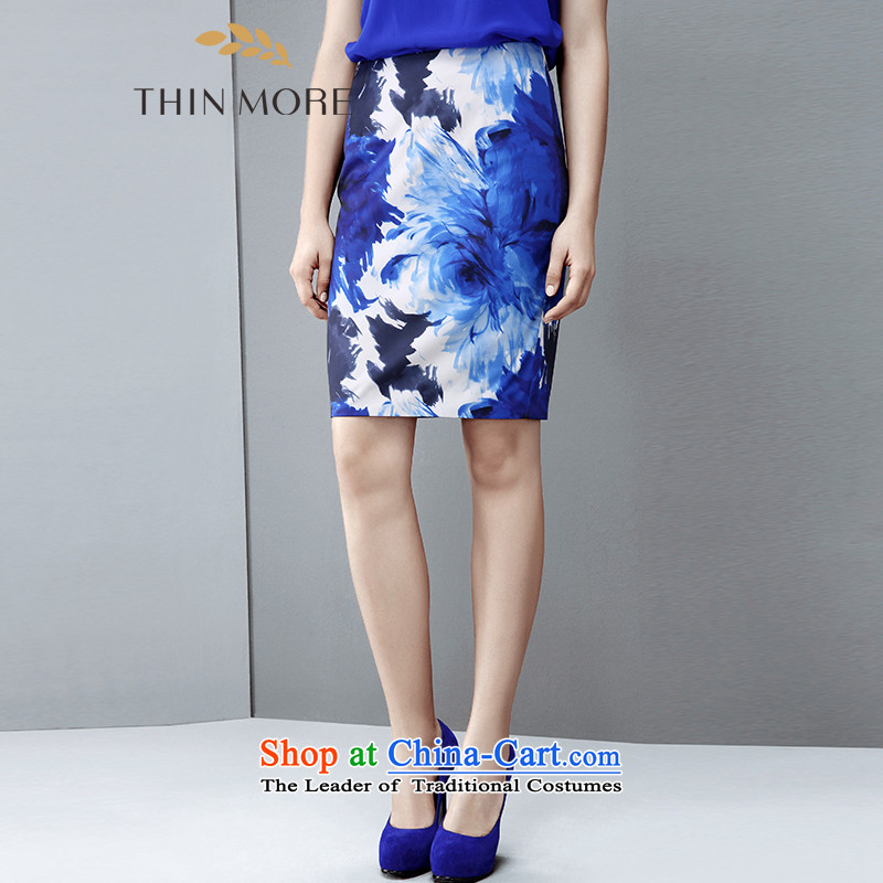 The former Yugoslavia Mak large high-end women 2015 autumn the new fat mm temperament knocked-color printing body skirt 851251058 blue�L