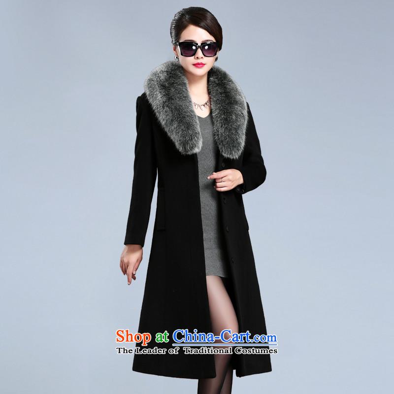 Shanshui Style 2015 autumn and winter coats new gross? warm jacket fox thick wool Washable Wool velvet cloak female long_ _聽A_ Black聽XXL