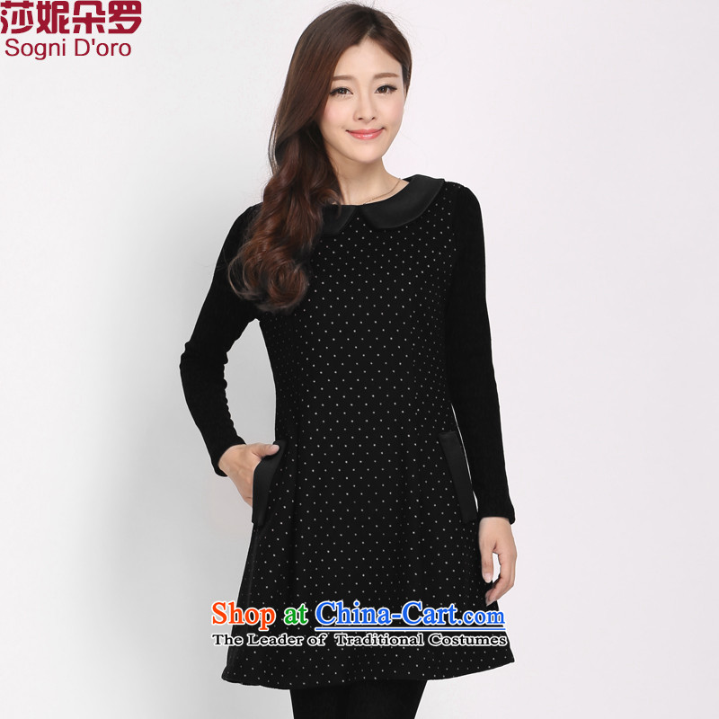Shani flower, XL Graphics thin hair? dresses thick sister new autumn and winter, long-sleeved a solid black skirt female 3106 4XL
