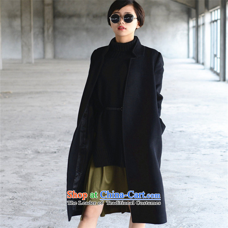 Ms Audrey EU�15 autumn and winter of the new Europe and the high end of the big coats, wool? long large female black jacket燤